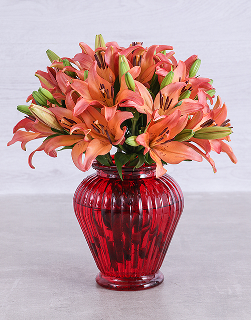 lilies: Sunset Lilies in a Red Lantern Vase!