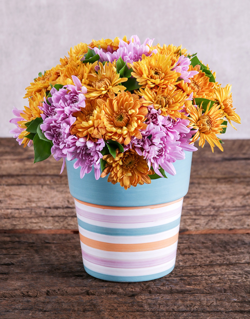 daisies: Sprays in Blue and Orange Pottery!