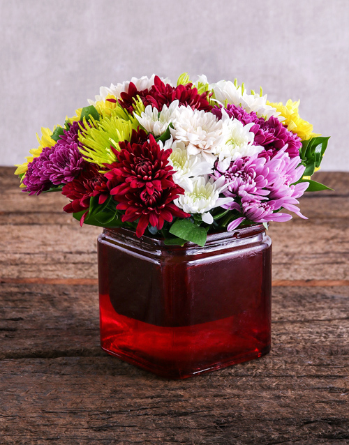prices: Mixed Sprays in Red Square Vase!