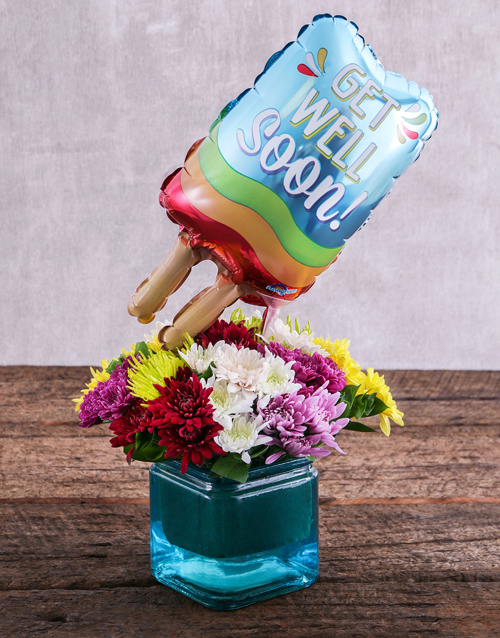 coloured-vases: Get Well Soon Balloon and Sprays in Blue Vase!