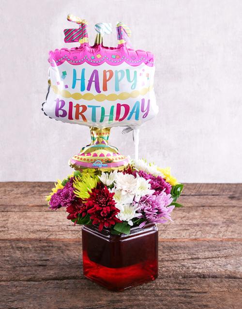 Daisies Birthday Cake Balloon And Sprays Gift