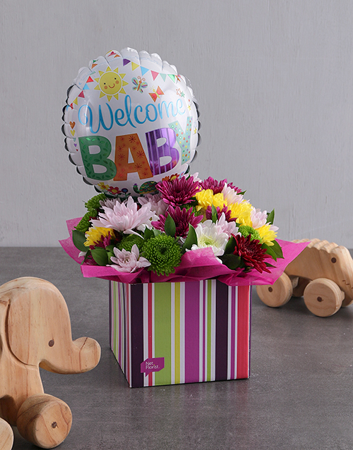 baby: Welcome Baby Balloon and Sprays in Striped Box!