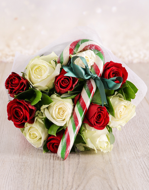 roses: Red and White Candy Cane Bouquet!