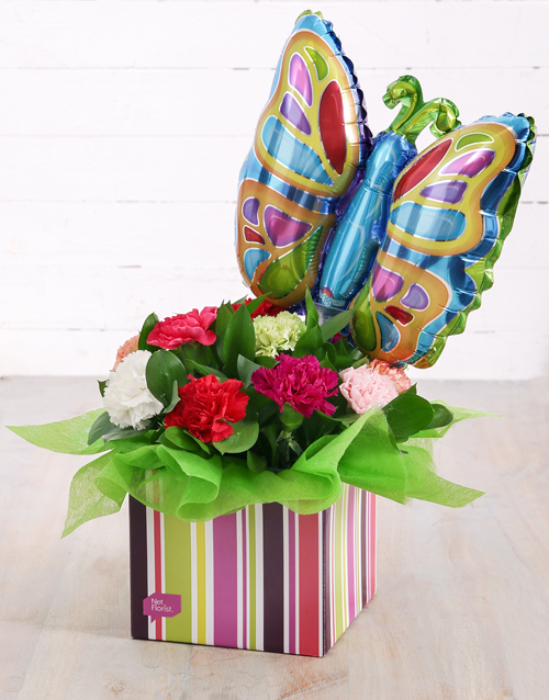 in-a-box: Carnations and Butterfly Balloon in Striped Box!