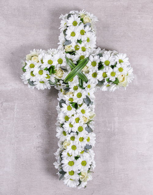 sympathy: White Funeral Cross!