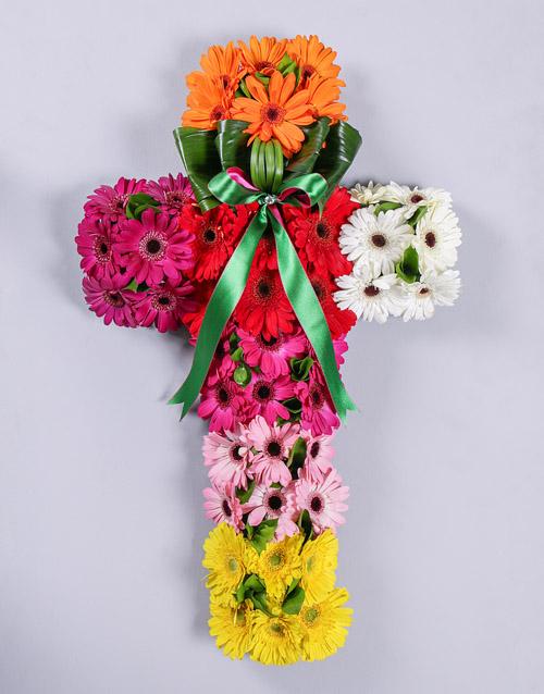 sympathy: Mixed Gerbera Funeral Cross!