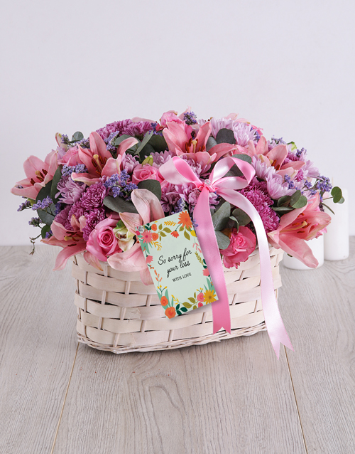 flowers: Pink and Purple Sympathy Basket!