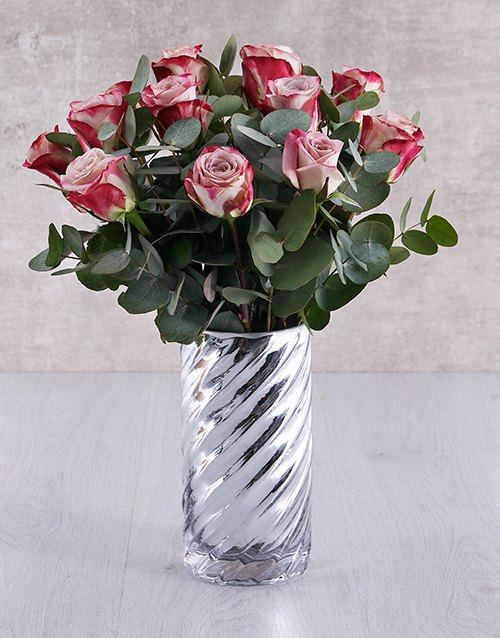 speciality: Variegated Roses in Cylinder Twirl Vase!