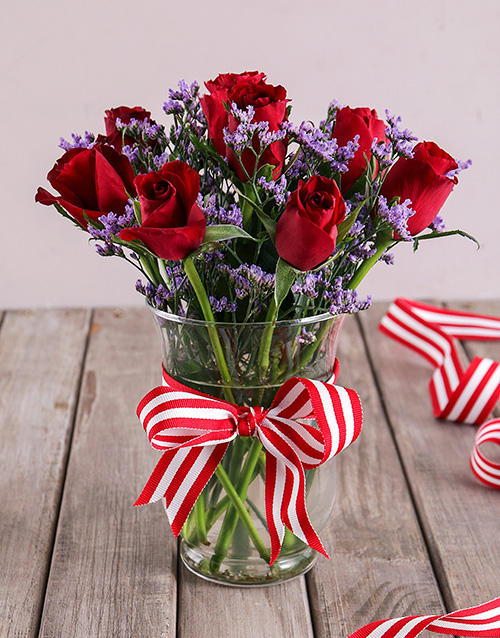 congratulations: Red Rose and Latifolia in a Vase!