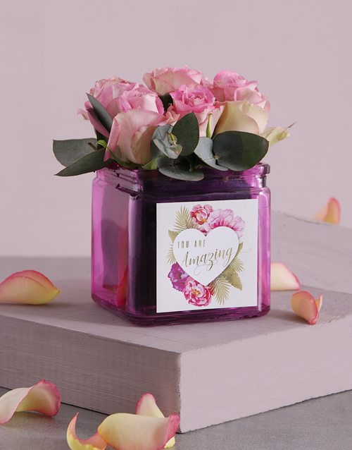 colour: Pink Love Roses in Square Vase!