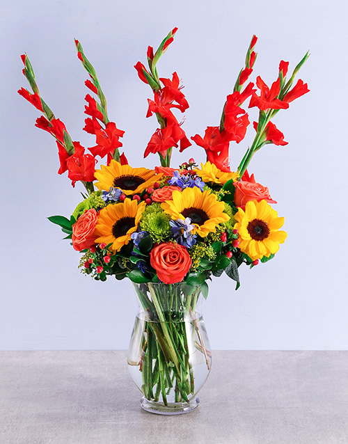 whats-new: Mixed Gladiolus and Sunflower Vase!