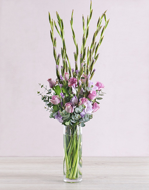 colour: Purple Gladioli with Roses and Gum Leaves!