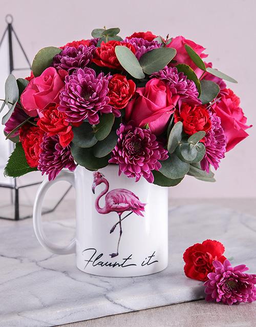 mugs: Flaunt It Cerise Mixed Flower Mug!
