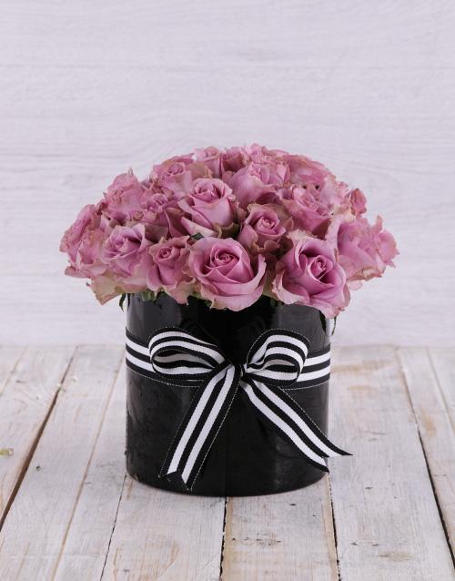 roses: Solid Purple Rose Arrangement!