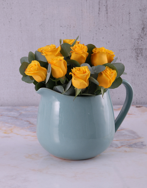 roses: Yellow Roses in Ceramic Water Jug!