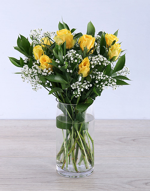 flowers: Yellow rose arrangement in a vase!