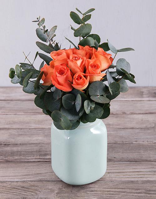 colour: Orange Roses in Mint Vase!
