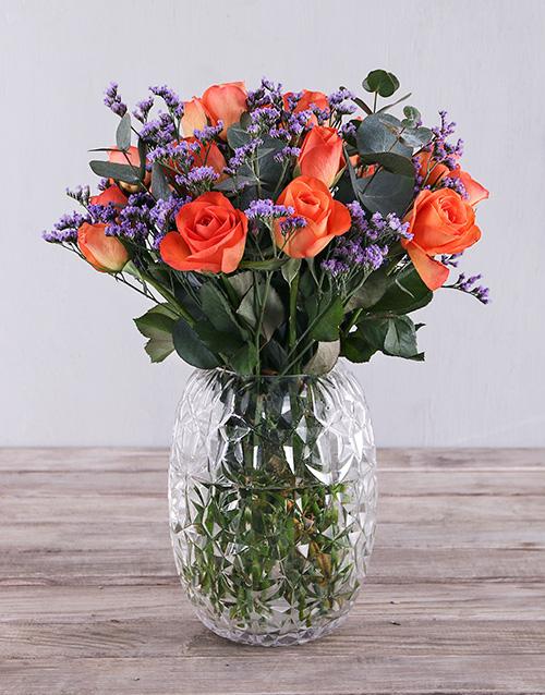 colour: Orange Roses Touch of Purple!