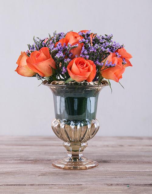 apology: Orange Roses in Petite Amber Vase!