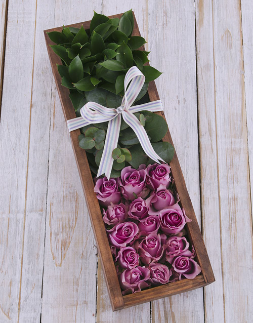 colour: Purple Roses in Wooden Crate!