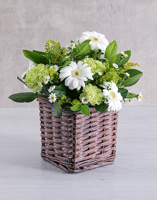 basket: Mixed White Flower Basket!