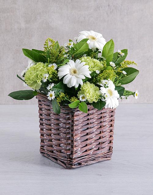 basket: Mixed White Flower Basket!