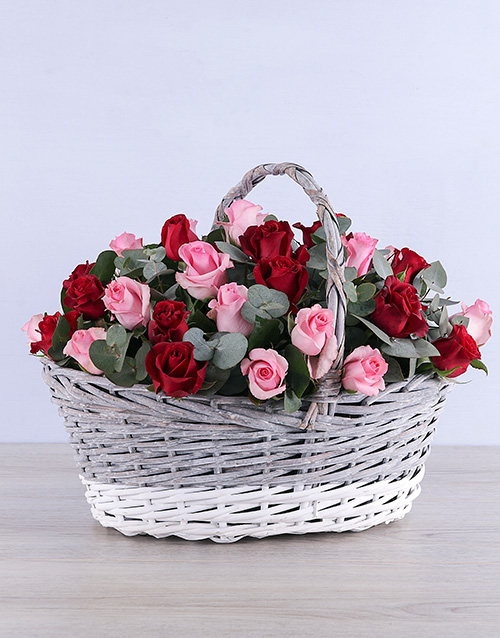 basket: Mixed Roses in Grey Willow Basket!