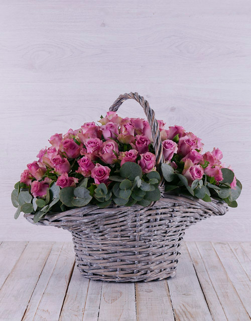 roses: Purple Rose in Willow Basket!
