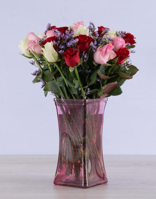 vase: Mixed Roses in Tickled Pink Vase!