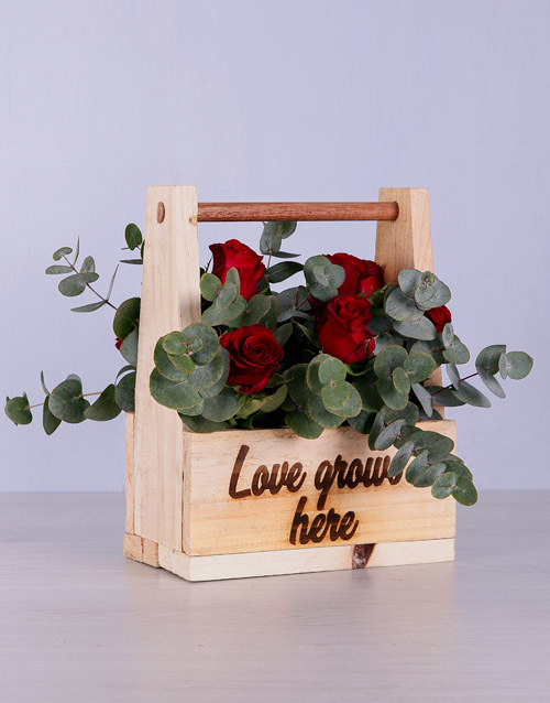 colour: Red Roses in Wooden Holder!