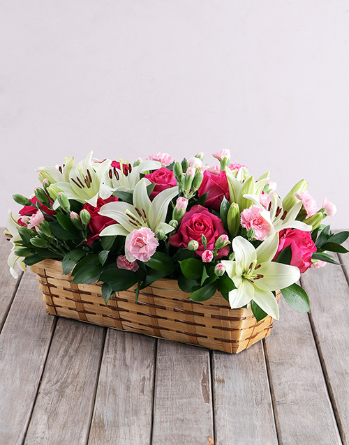 baby: Mixed Flowers in Rectangle Basket!