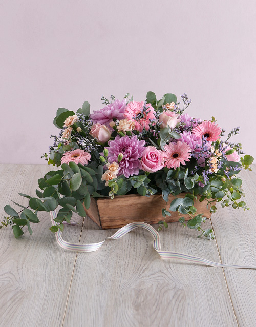 sympathy: Delicate Floral in Wooden Box!