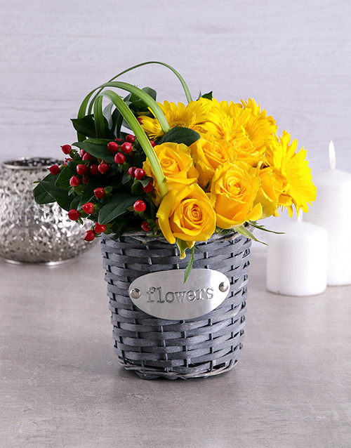 birthday: Yellow Touch of Red Basket!