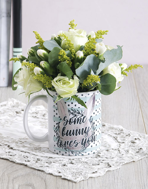 mugs: Some Bunny Loves you Floral Mug Arrangement!