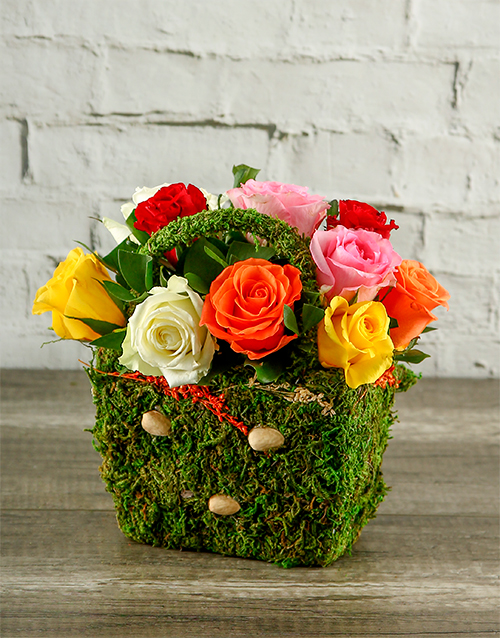 basket: Mixed Roses in a Moss Basket!