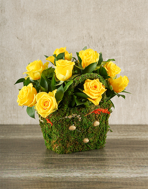 basket: Yellow Roses in a Moss Basket!