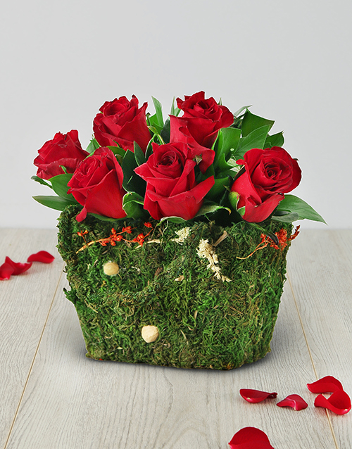 colour: Red Roses in a Moss Basket!