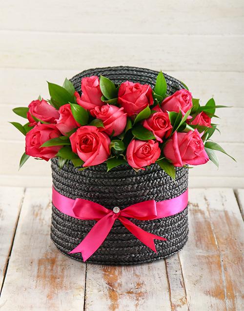 Hat Box Of Cerise Roses