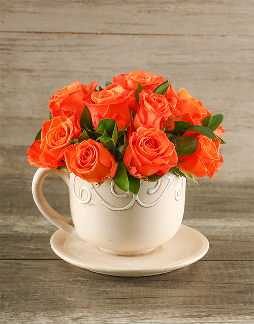 pottery: Orange Roses in a Teacup!