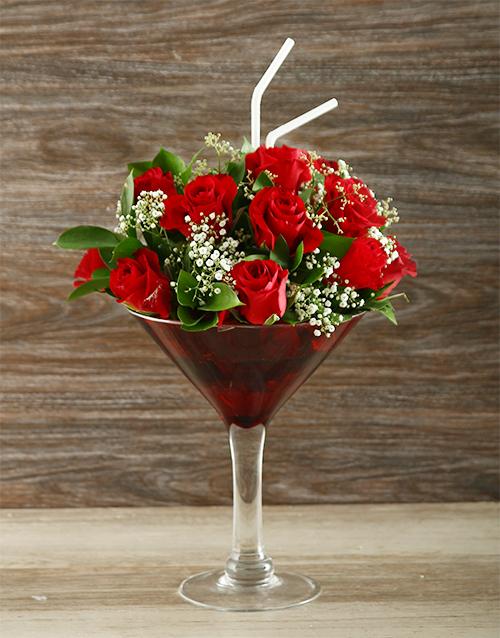 anniversary: Uniquely Red Rose Cocktail Vase!
