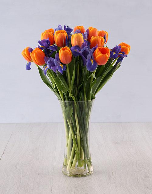 anniversary: Iris and Tulip Vase Arrangement!
