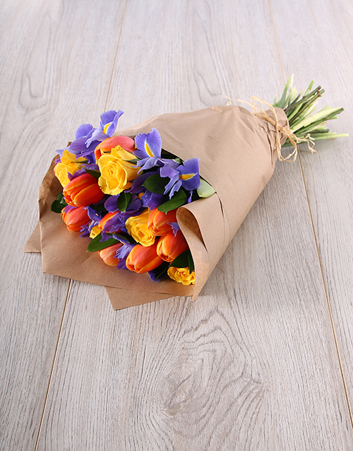 tulips: Beautiful Tulip, Iris & Rose Mix Bouquet!