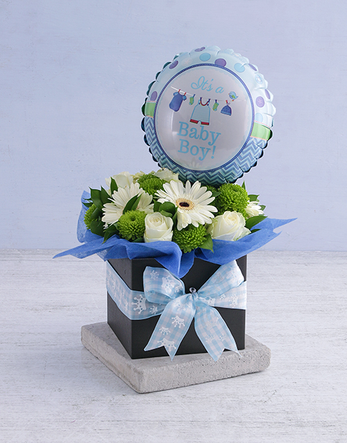 colour: Baby Boy Floral Box with Balloon!