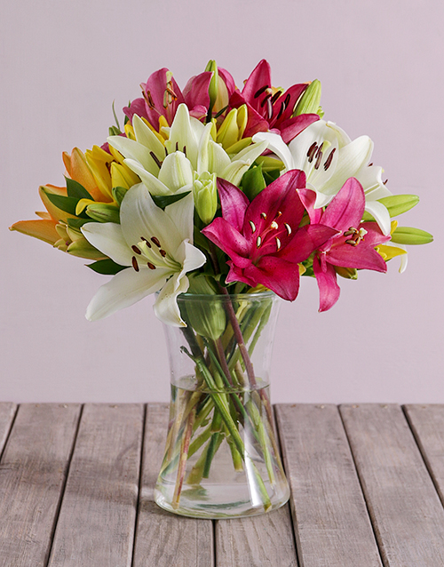 lilies: Mixed Lilies in a Vase!