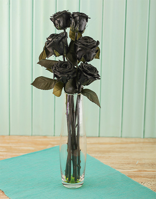 house-warming: Black Roses in Glass Vase!