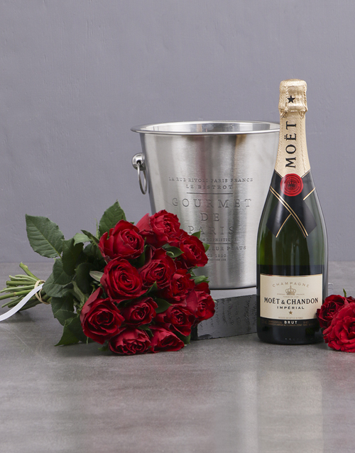 colour: Red Roses, Moet and Ice Bucket!