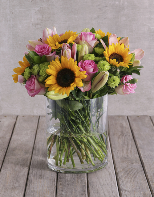 get-well: Bright Mix of Sunflowers in a Large Glass Vase!