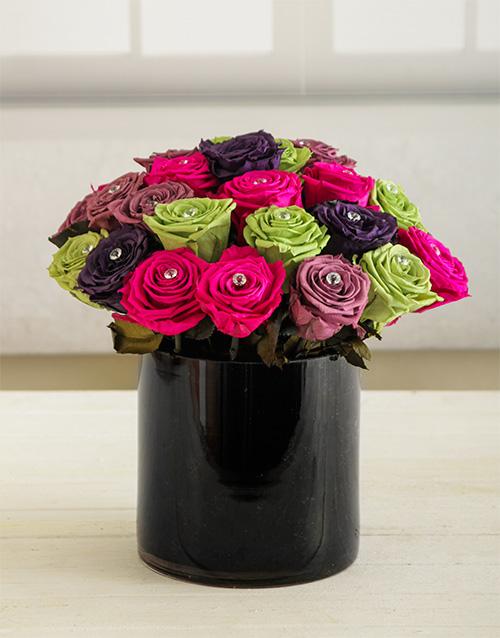 silk: Blooming Roses in Black Vase!