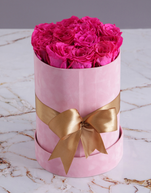 easter: Preserved Cerise Roses in a Tall Pink Suede Box!