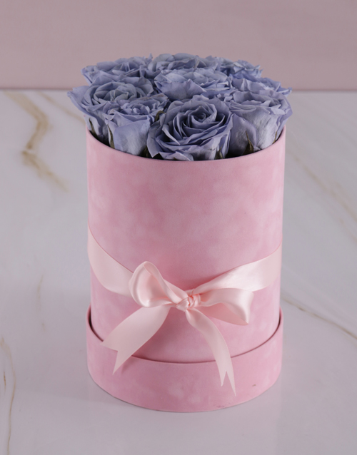 mothers-day: Large Pink Suede Box with Lilac Preserved Roses!